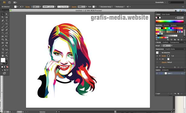 tampilan workspace adobe illustrator