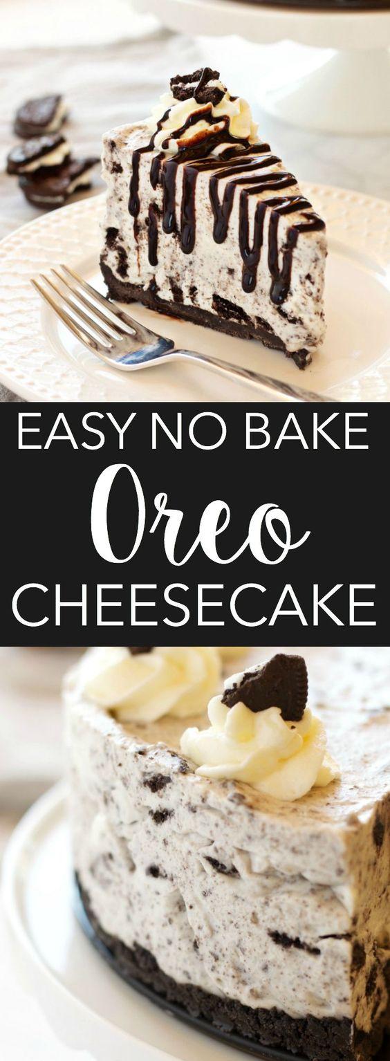 EASY NO BAKE OREO CHEESECAKE #easyrecipes #nobake #oreo #cheesecake #cake #cakerecipes #dessert #dessertrecipes