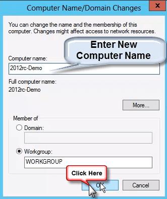 أدخل اسم الكمبيوتر الجديد