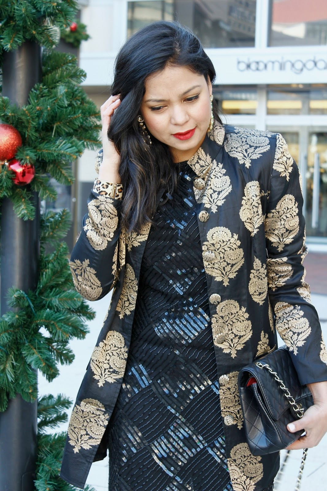 sequin. brocade, red heels, chanel bag