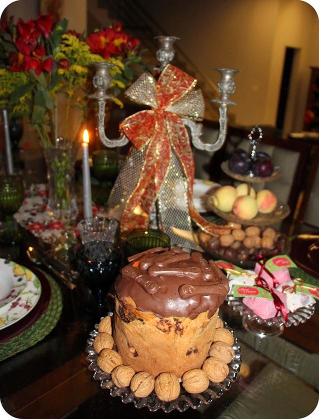 Mesa : Ceia de Natal - Decoração para o Jantar de Natal : Panettone Língua de Gato Kopenhagem