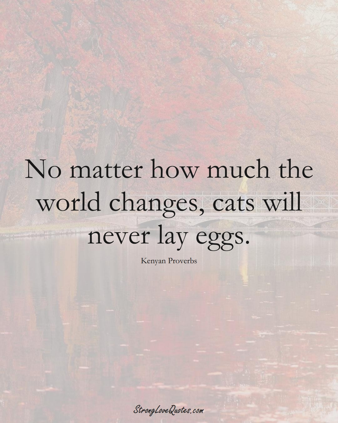 No matter how much the world changes, cats will never lay eggs. (Kenyan Sayings);  #AfricanSayings