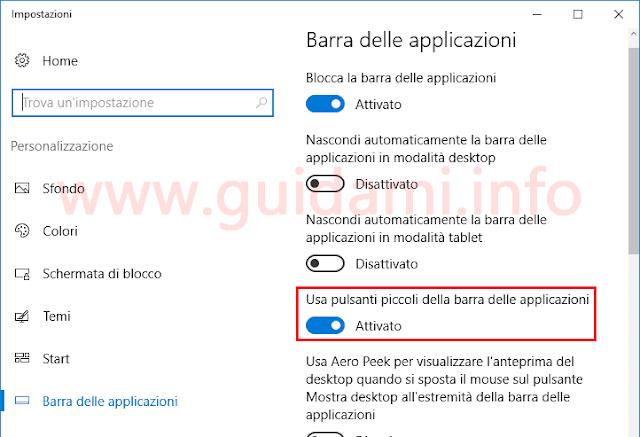 Impostazioni Windows 10 Usa pulsanti piccoli barra applicazioni