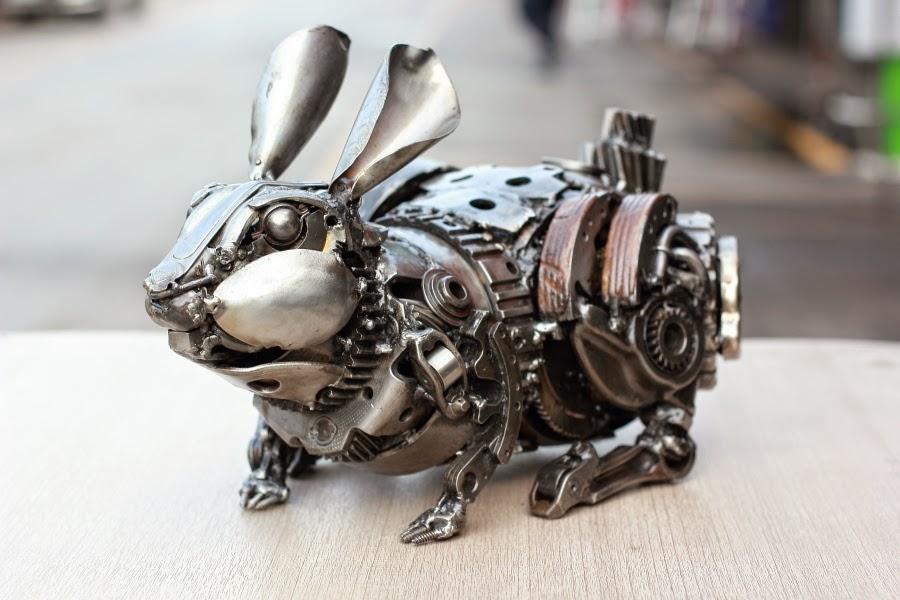 Rabbit metal art sculpture, crawl