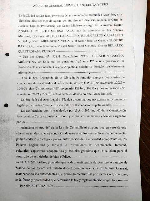 SE AUTOREGALÓ ADOLFO CABALLERO ELEMENTOS PARA LA FEDERACIÓN GAUCHA DE SAN JUAN POR MEDIO DE LA CORTE Y ÉL COMO JUEZ