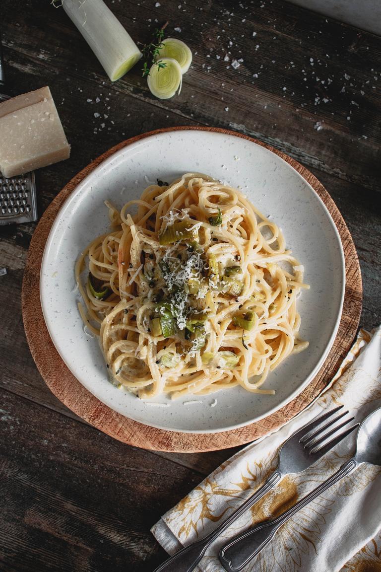 Topshot Ansicht Spaghetii Carbonara