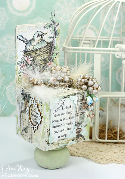 Shabby chic ATB Artist Trading Block with birds nest with eggs
