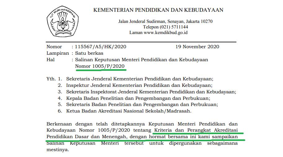 Kepmendikbud Nomor 1005/P/2020 atau SD/MI SMP/MTS SMA/MA SMK SLB 2020