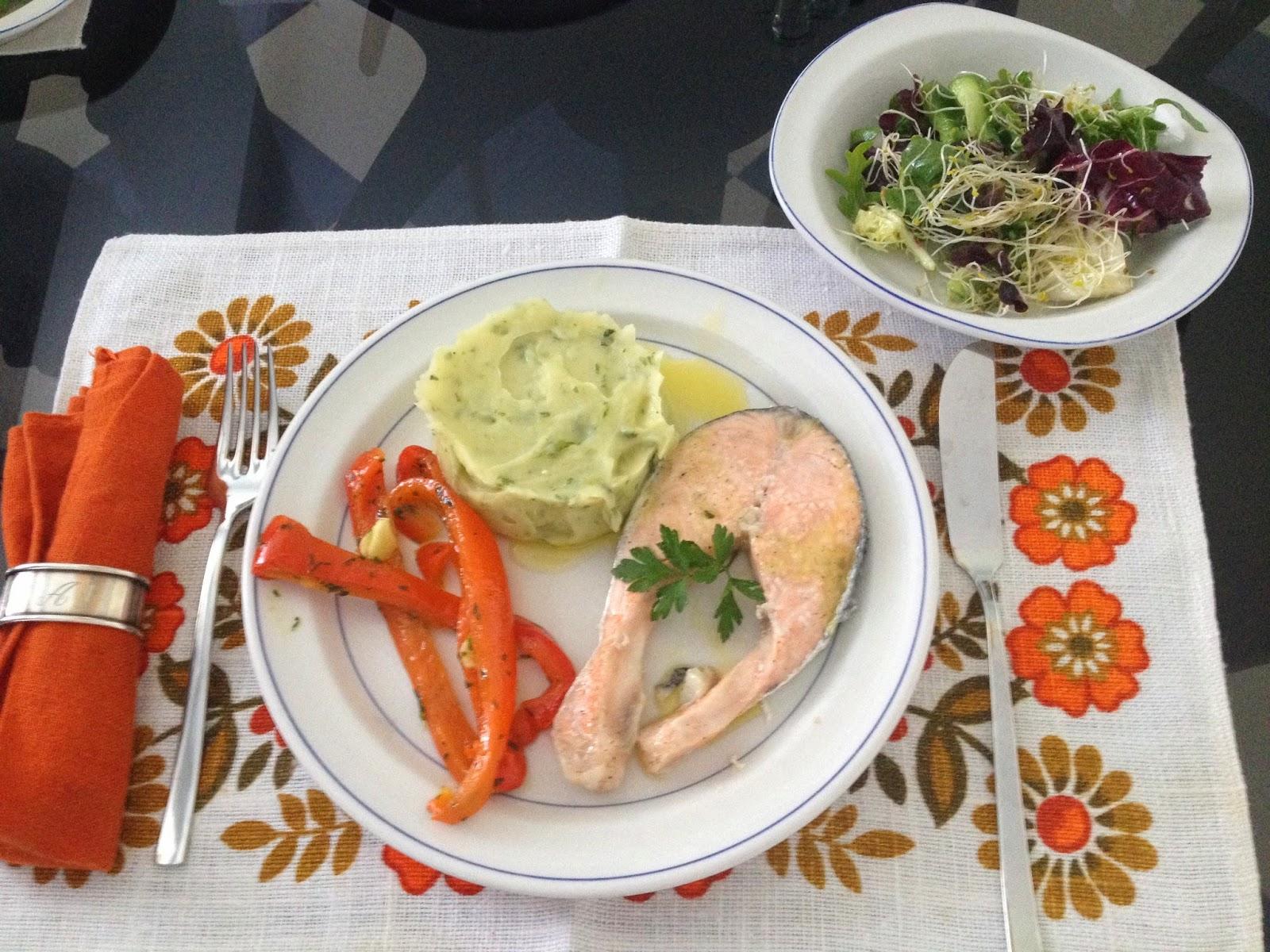 Cocina con alma salm n al vapor con pur de patatas y lechuga - Cocina con alma ...