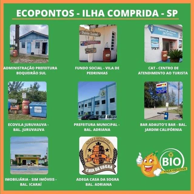 Ilha Comprida conta com oito Ecopontos para o descarte de óleo de cozinha