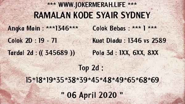 Syair Sidney Senin 06 April 2020 - Joker Merah Sydney