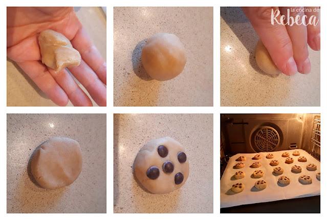 Receta de galletas fáciles con chips de chocolate: formado y horneado