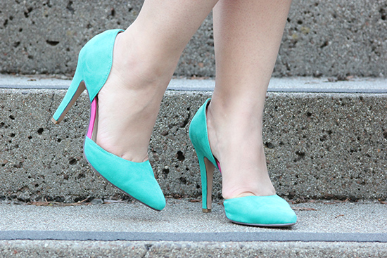 Custom Turqoise d'Orsay Suede Shoes of Prey Heels