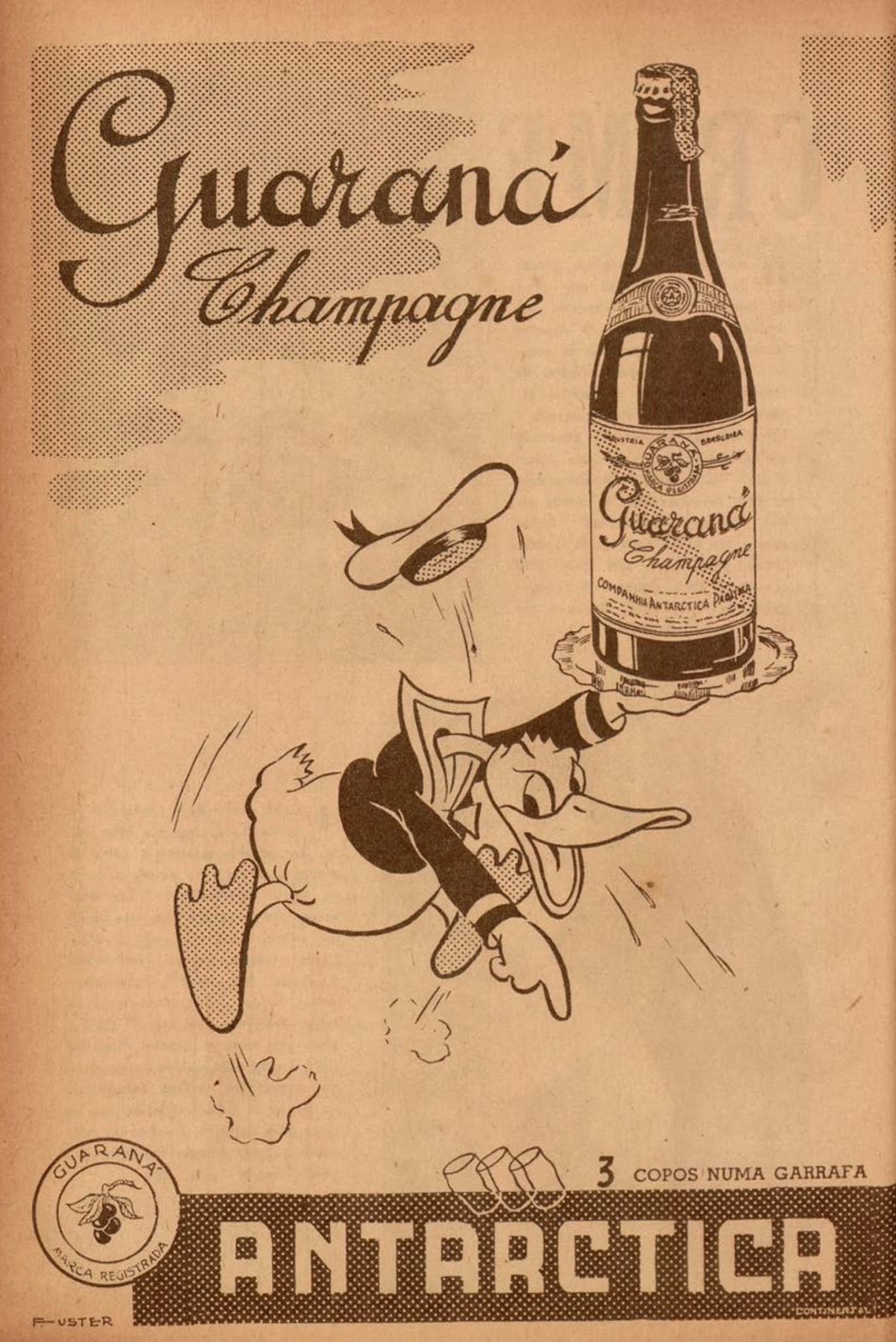 Anúncio antigo do Guaraná Antarctica em 1943 com o Pato Donald