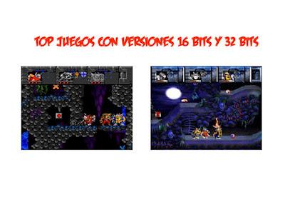 juegos 16 bits 32 bits