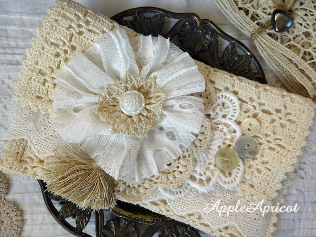 Fabric and lace clutch by AppleApricot