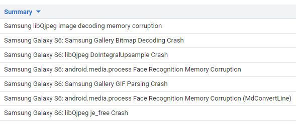 Samsung Galaxy S6 image processing bugs in Project Zero bug tracker