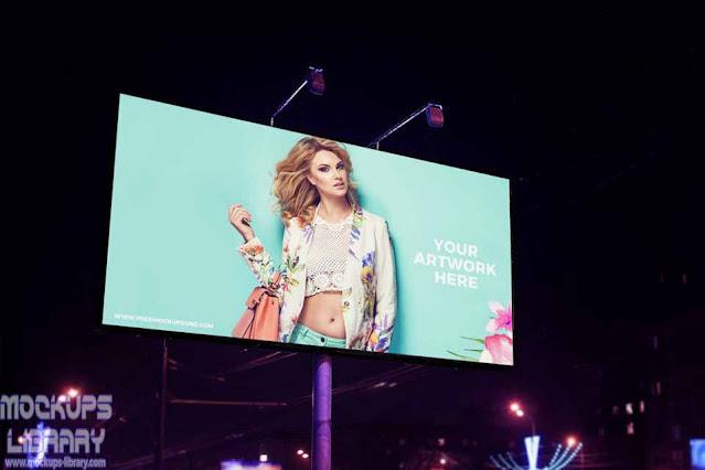 night scene advertisement billboard mockup