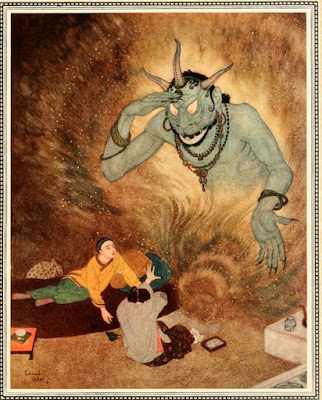 "Aladdin and mom meet genie ""Edmund Dulac"""