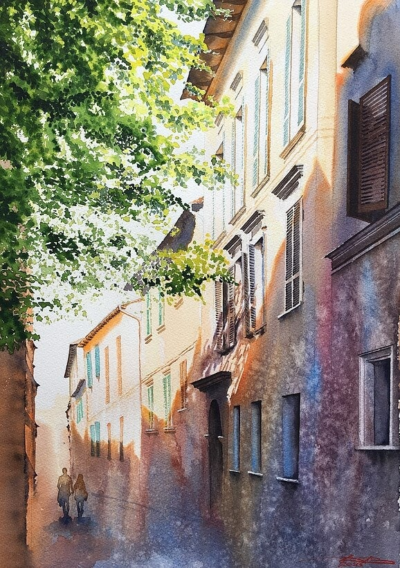 05-Sunny-Day-in-Fariano-Igor-Dubovoy-A-Love-for-Travelling-and-Realistic-Watercolour-Paintings-www-designstack-co