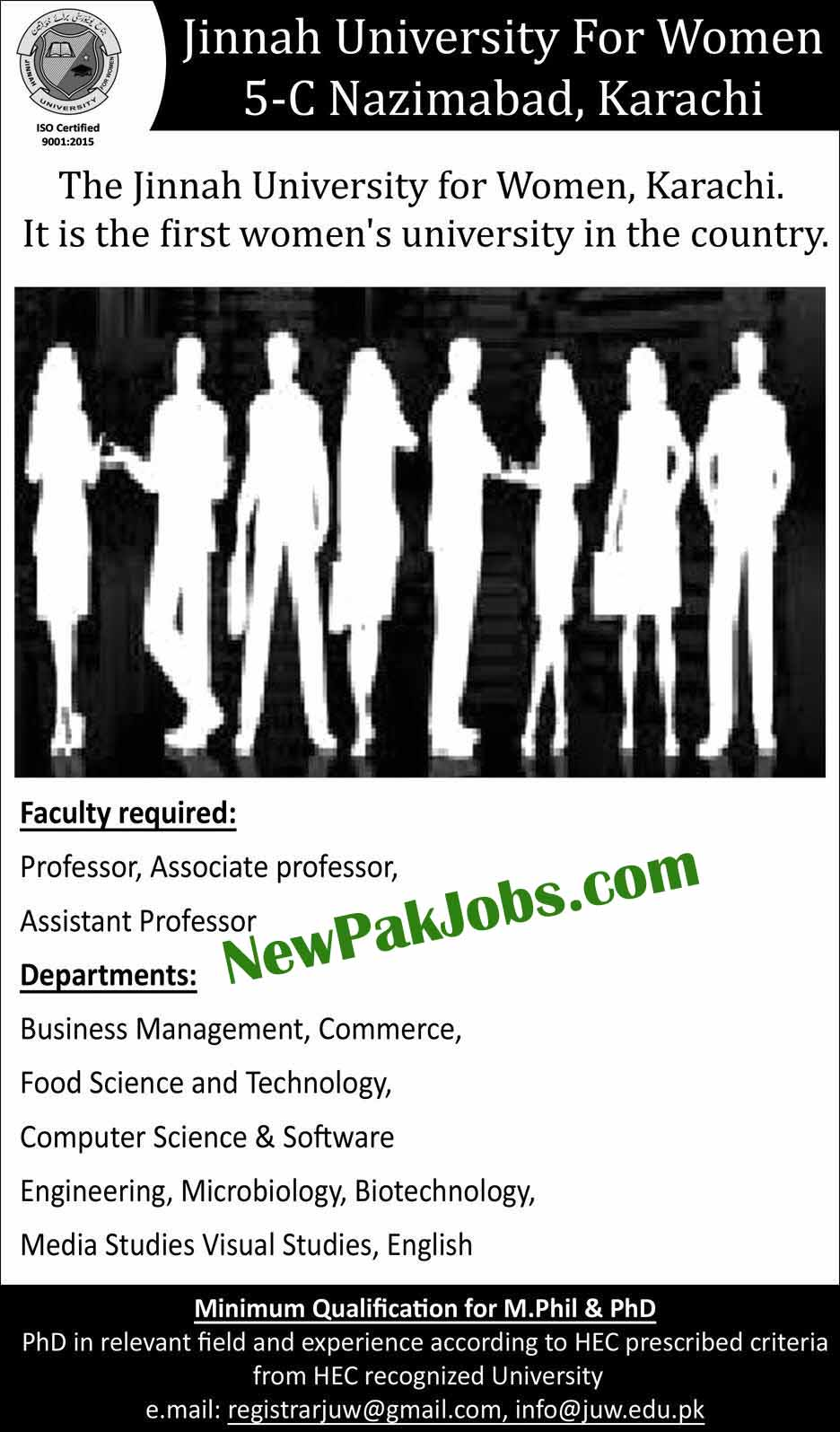 Jobs in Jinnah University for Women the firs Women University in Karachi