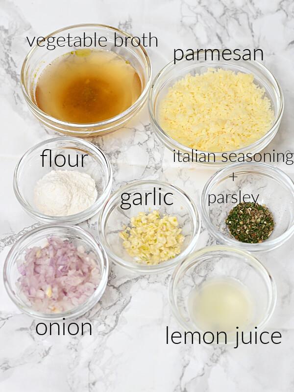 ingredients to easy mushroom pasta