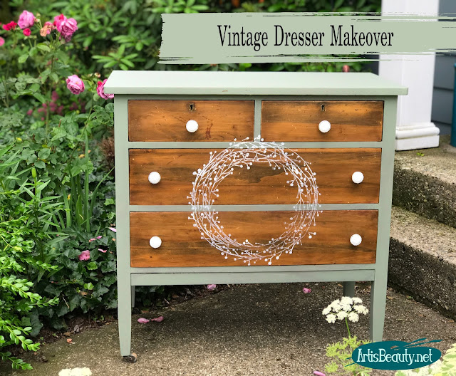 Vintage small dresser makeover given farmhouse feel using general finishes milk paint
