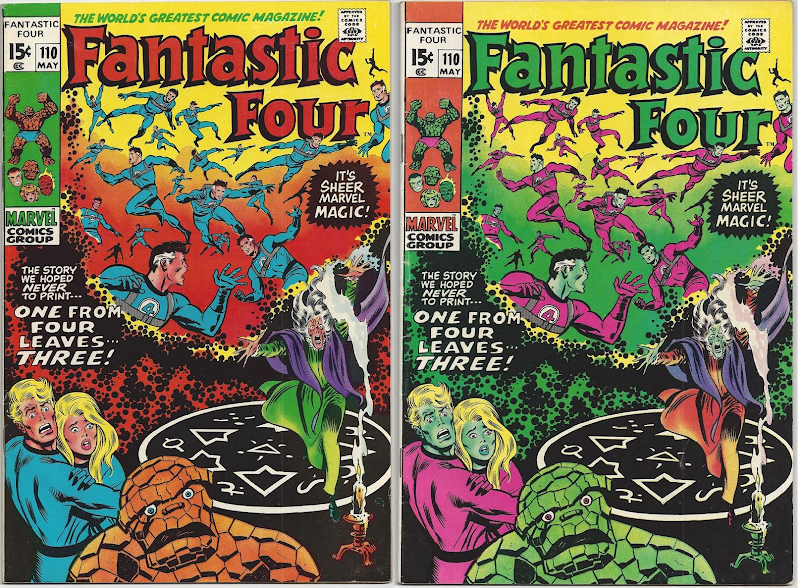 side by side images of the cover of Fantastic Four 110 showing the team with multiple Reed Richards, right hand version shows green Thing and pink and green Storm siblings