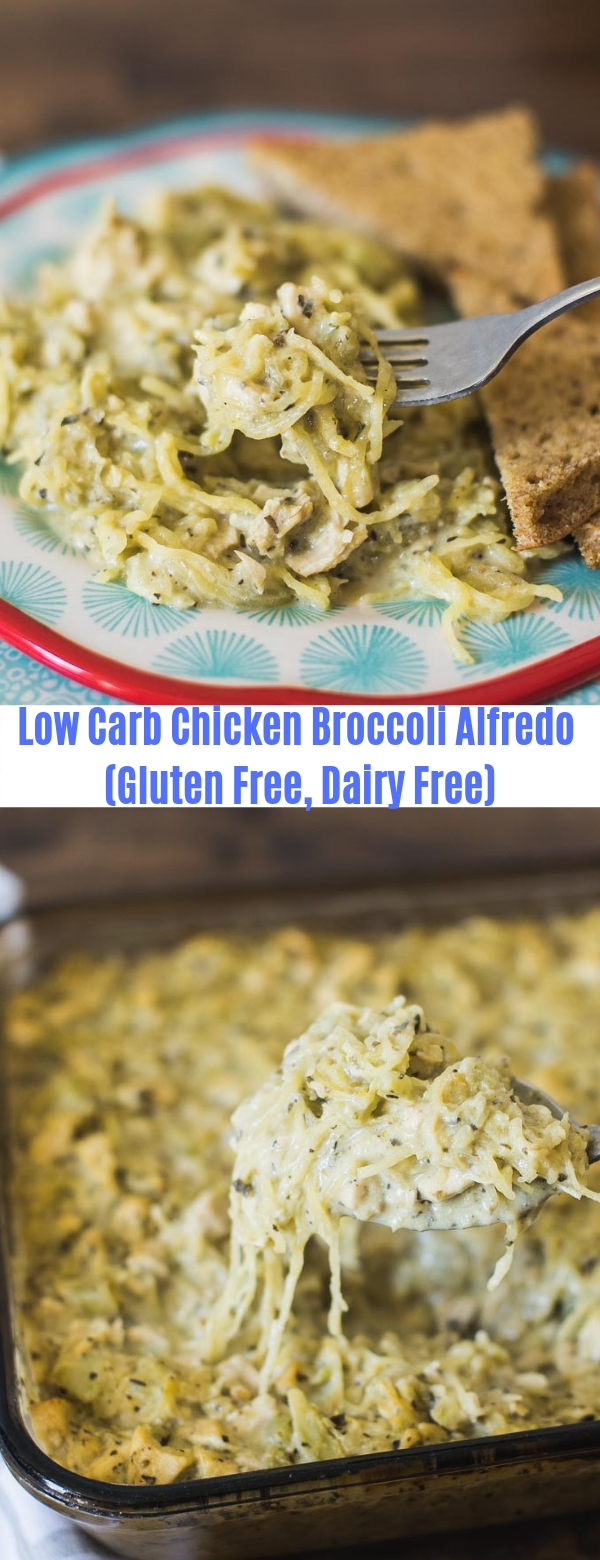 Low Carb Chicken Broccoli Alfredo (Gluten Free, Dairy Free)