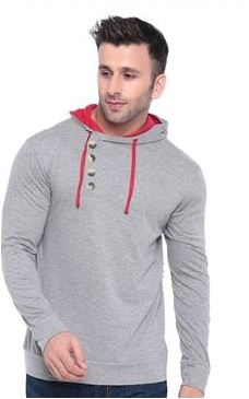 Hot Selling Solid Cotton Hooded T-Shirt
