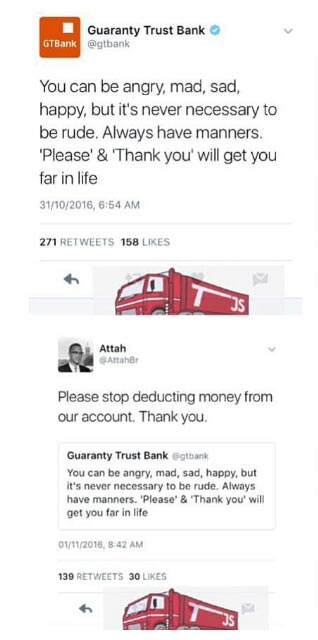 Choi! Between GTBank and a Naija guy on Twitter