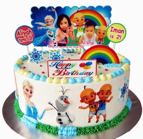 Birthday Cake Disney Frozen Upin Ipin Kek Harijadi Aliyah Iman