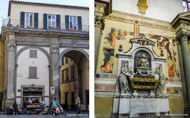 Uma barraca de frutas em Santa Croce e o túmulo de Galileu Galilei