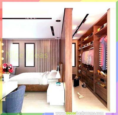 ديكور غرف نوم مع غرفة ملابس وغرفة حمام