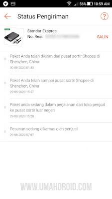 Status Pengiriman Shopee dari China