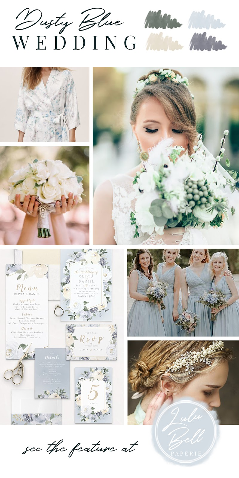 Dusty Blue Yellow and Green Wedding Color Palette Inspiration - Bridal Robes, Bride Photography, Floral Bouquet, Invitation Suite, Bridesmaid Dresses, and Wedding Headpiece