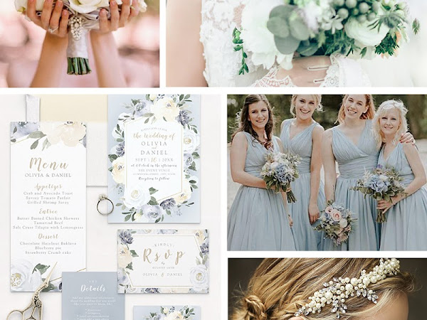 Dusty Blue Yellow & Green Wedding Color Palette - Inspiration Invitations and Free Planner Sticker Sheet