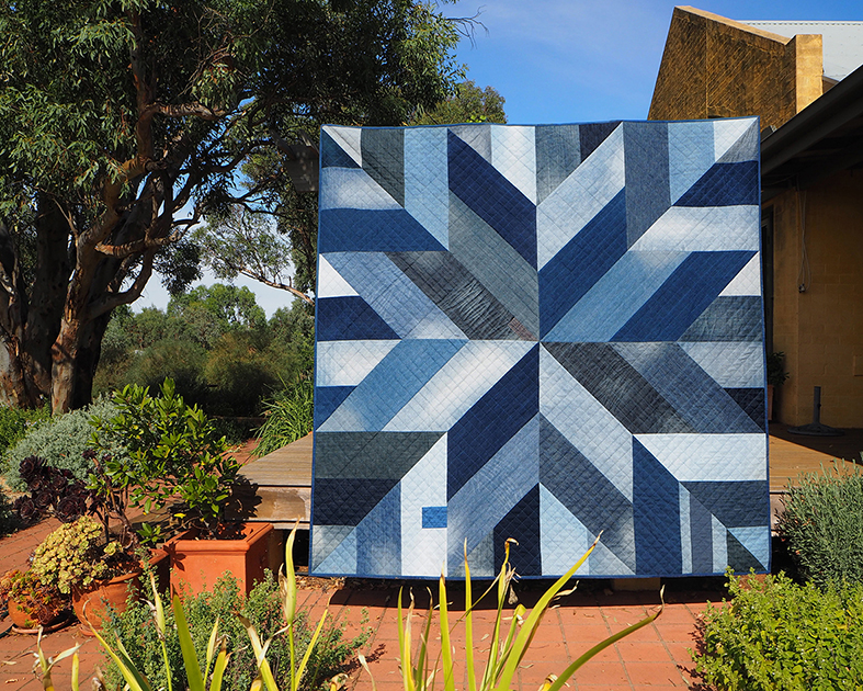 The Blue Giant quilt made with upcycled denim jeans