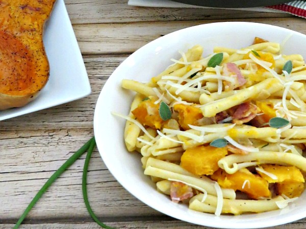 FEATURED Creamy Butternut Squash Pasta with Bacon and Sage from Moms Need to Know