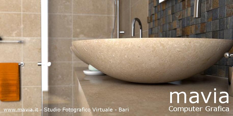Arredamento di interni: Arredo Bagni moderni: modellazione 3d e Rendering 3d lavandino in pietra ...