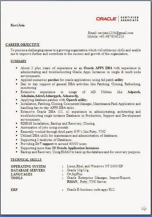 sample resume for dba freshers
