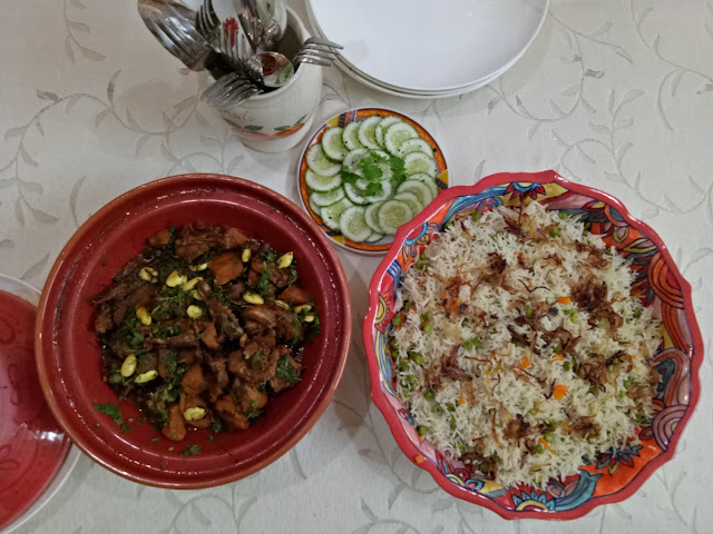 Chicken tagine with pea pulao