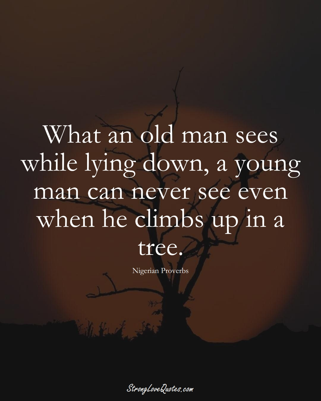 What an old man sees while lying down, a young man can never see even when he climbs up in a tree. (Nigerian Sayings);  #AfricanSayings