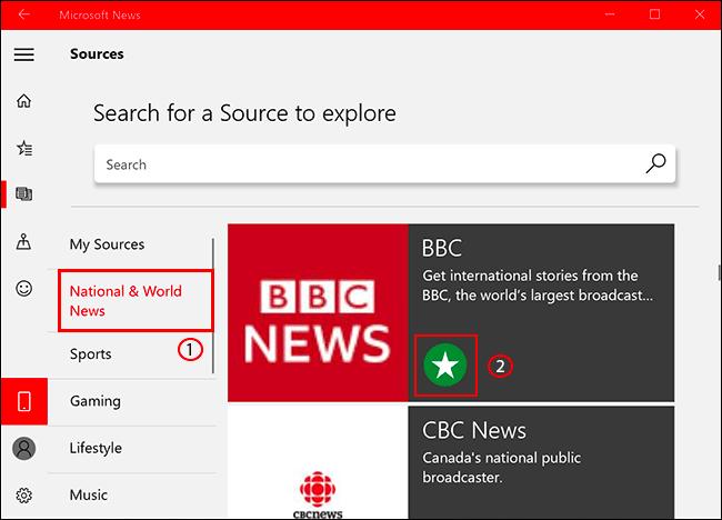 لإضافة مصدر أخبار أو إزالته في أخبار Microsoft ، انقر فوق علامة تبويب المصادر ، ثم حدد مصدر الأخبار ، ثم انقر فوق رمز النجمة لإضافته / إزالته
