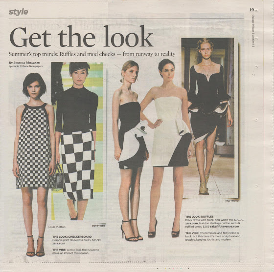 CHICAGO TRIBUNE's How get the look ruffles and checks by Jessica Moazami