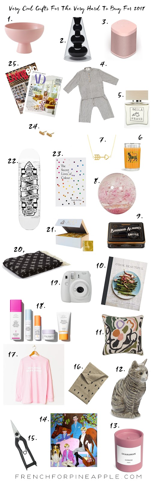 French For Pineapple Blog - 25 Very Cool Gifts For The Very Hard To Buy For 2018 Edition - Christmas Gift List 2018