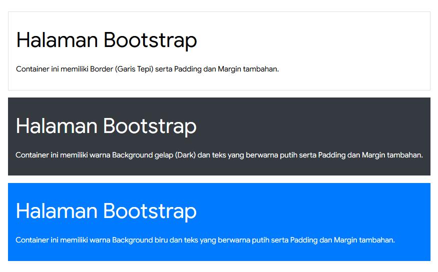 Bootstrap 4: Warna dan Border Container