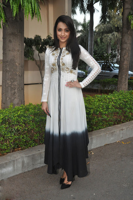 Trisha Krishnan in Black and White Ombre Kurta