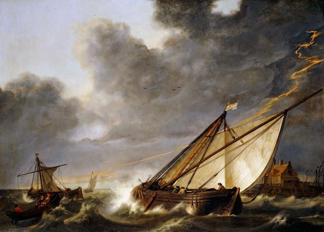 Альберт Кёйп - Лодки, попавшие в шторм. 1640-е