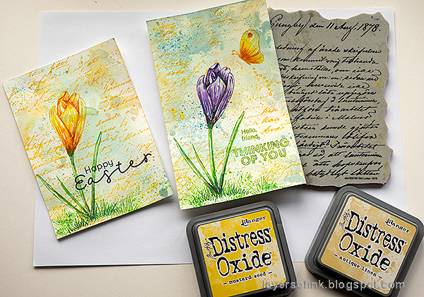 Layers of ink - Crocus in Watercolor and Pencil Tutorial by Anna-Karin Evaldsson. With Simon Says Stamp Thoughtful Flower stamp. Stamp with Simon Says Stamp Old Letter.
